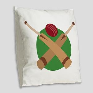 Cricket Bat Burlap Throw Pillow