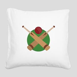 Cricket Bat Square Canvas Pillow