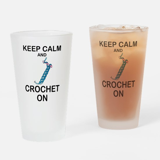 CROCHET - KEEP CALM AND CROCHET ON Drinking Glass