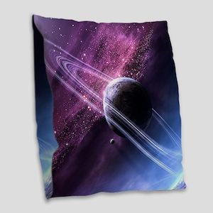 Planet Ring System Burlap Throw Pillow