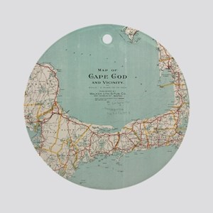 Vintage Map of Cape Cod (1917) Ornament (Round)