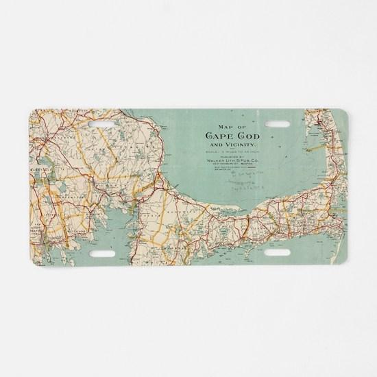 Vintage Map of Cape Cod (19 Aluminum License Plate