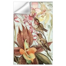 Vintage Hummingbirds and Orchids Wall Decal