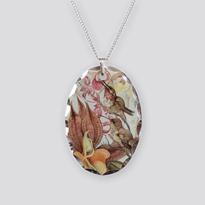 Vintage Hummingbirds and Orchi Necklace Oval Charm