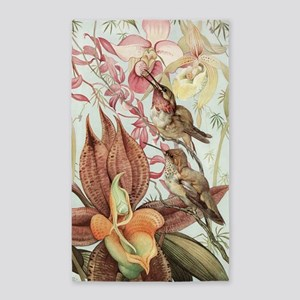 Vintage Hummingbirds and Orchids Area Rug