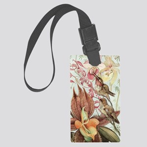 Vintage Hummingbirds and Orchids Large Luggage Tag