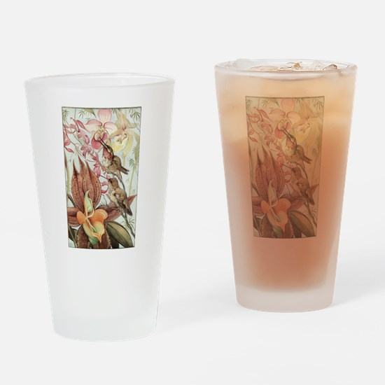 Vintage Hummingbirds and Orchids Drinking Glass