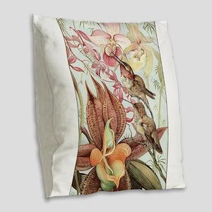 Vintage Hummingbirds and Orchi Burlap Throw Pillow