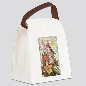 Vintage Hummingbirds and Orchids Canvas Lunch Bag