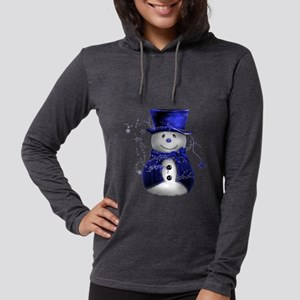 Cute Snowman in Blue Velvet Long Sleeve T-Shirt