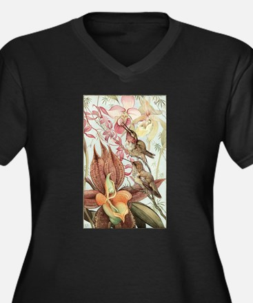 Vintage Hummingbirds and Orchids Plus Size T-Shirt