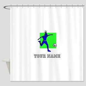 Blue Soccer Player (Custom) Shower Curtain
