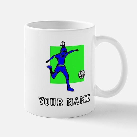 Blue Soccer Player (Custom) Mugs