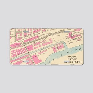 Vintage Map of Manchester N Aluminum License Plate