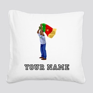 Cameroon Soccer Fan (Custom) Square Canvas Pillow