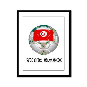 Tunisia Soccer Ball (Custom) Framed Panel Print