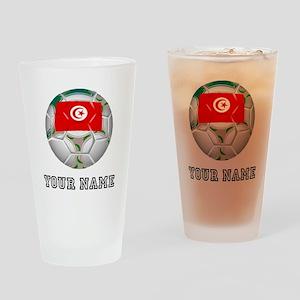 Tunisia Soccer Ball (Custom) Drinking Glass