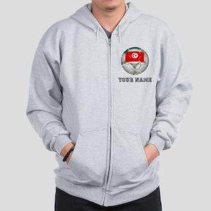 Tunisia Soccer Ball (Custom) Zip Hoodie