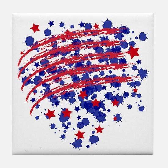 US flagheart Tile Coaster