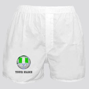 Nigeria Soccer Ball (Custom) Boxer Shorts