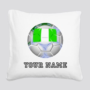 Nigeria Soccer Ball (Custom) Square Canvas Pillow