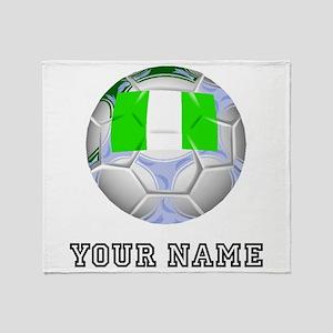 Nigeria Soccer Ball (Custom) Throw Blanket