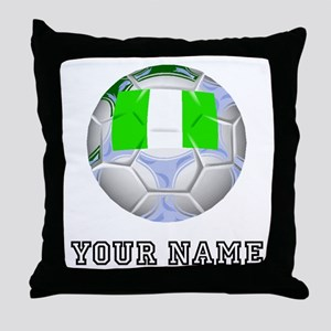 Nigeria Soccer Ball (Custom) Throw Pillow