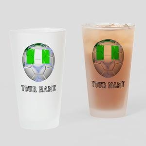 Nigeria Soccer Ball (Custom) Drinking Glass