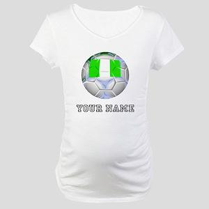 Nigeria Soccer Ball (Custom) Maternity T-Shirt