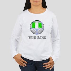 Nigeria Soccer Ball (Custom) Long Sleeve T-Shirt