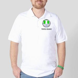 Nigeria Soccer Ball (Custom) Golf Shirt