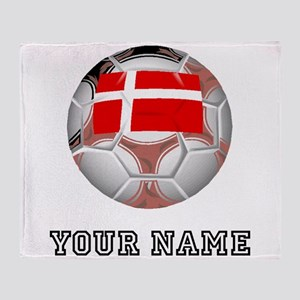 Denmark Soccer Ball (Custom) Throw Blanket