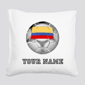 Colombia Soccer Ball (Custom) Square Canvas Pillow