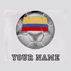 Colombia Soccer Ball (Custom) Throw Blanket