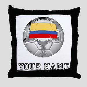 Colombia Soccer Ball (Custom) Throw Pillow