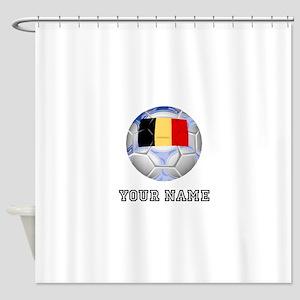 Belgium Soccer Ball (Custom) Shower Curtain