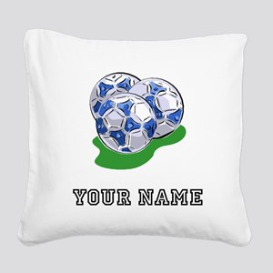 Soccer Balls (Custom) Square Canvas Pillow