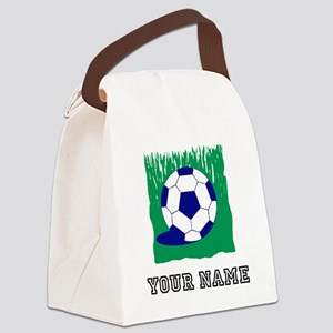 Soccer Ball In Grass (Custom) Canvas Lunch Bag
