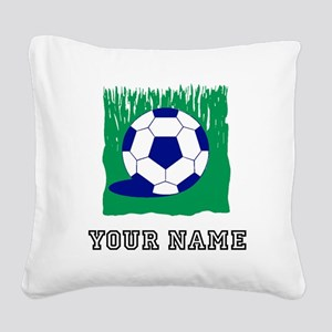 Soccer Ball In Grass (Custom) Square Canvas Pillow
