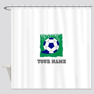 Soccer Ball In Grass (Custom) Shower Curtain