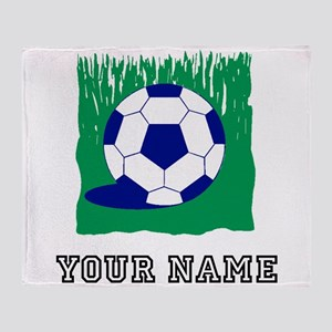 Soccer Ball In Grass (Custom) Throw Blanket