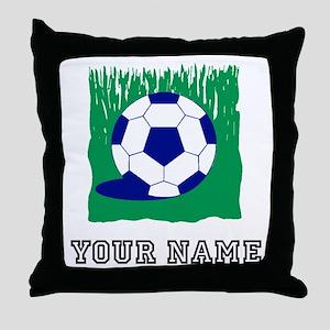 Soccer Ball In Grass (Custom) Throw Pillow