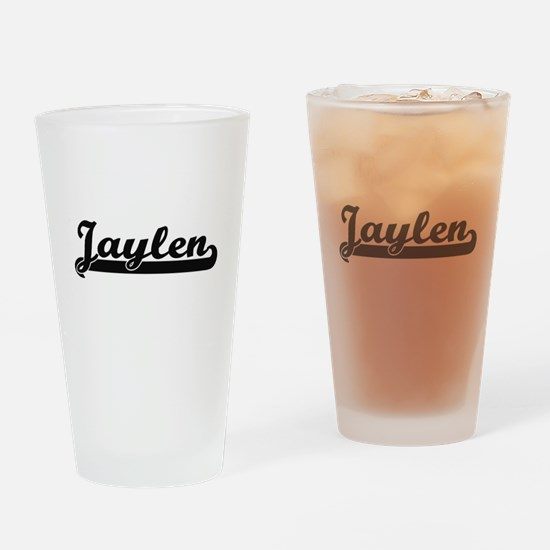 Jaylen Classic Retro Name Design Drinking Glass