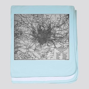 Vintage Map of Manchester England (19 baby blanket