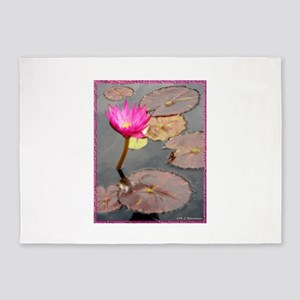 waterlily pad, floral photo 5'x7'Area Rug