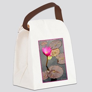 waterlily pad, floral photo Canvas Lunch Bag