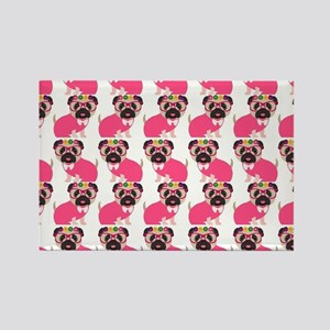 Pug in Pink Rectangle Magnet
