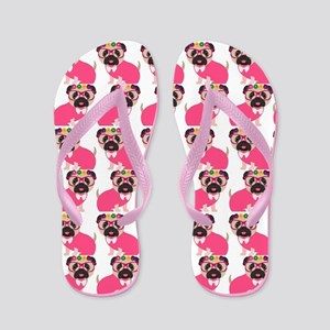 Pug in Pink Flip Flops