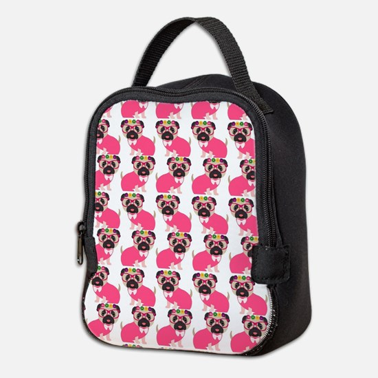 Pug in Pink Neoprene Lunch Bag