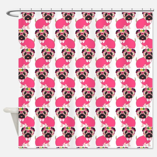 Pug in Pink Shower Curtain
